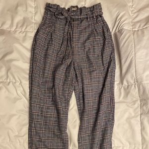 High waisted paper bag tapered pants